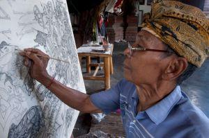 Ketut Madra at work, April 2013