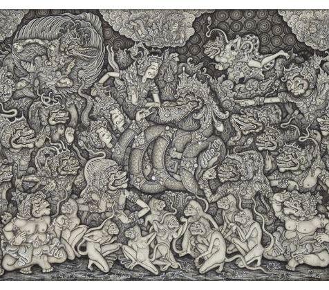 Rama and Laksmana Rescued by Garuda from Meganada's Nagapasa, Ketut Madra, 1973. Collection of David Irons