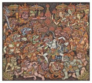 32. Ramayana - Hanoman Battles the Forces of Rawana, Ketut Madra, Peliatan, Acrylic and ink on canvas, 1973, 89 x 98 cm, Collection of David Irons