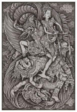 Jatayu Battles Rawana, Ketut Madra, 2013, Collection of Ketut Madra