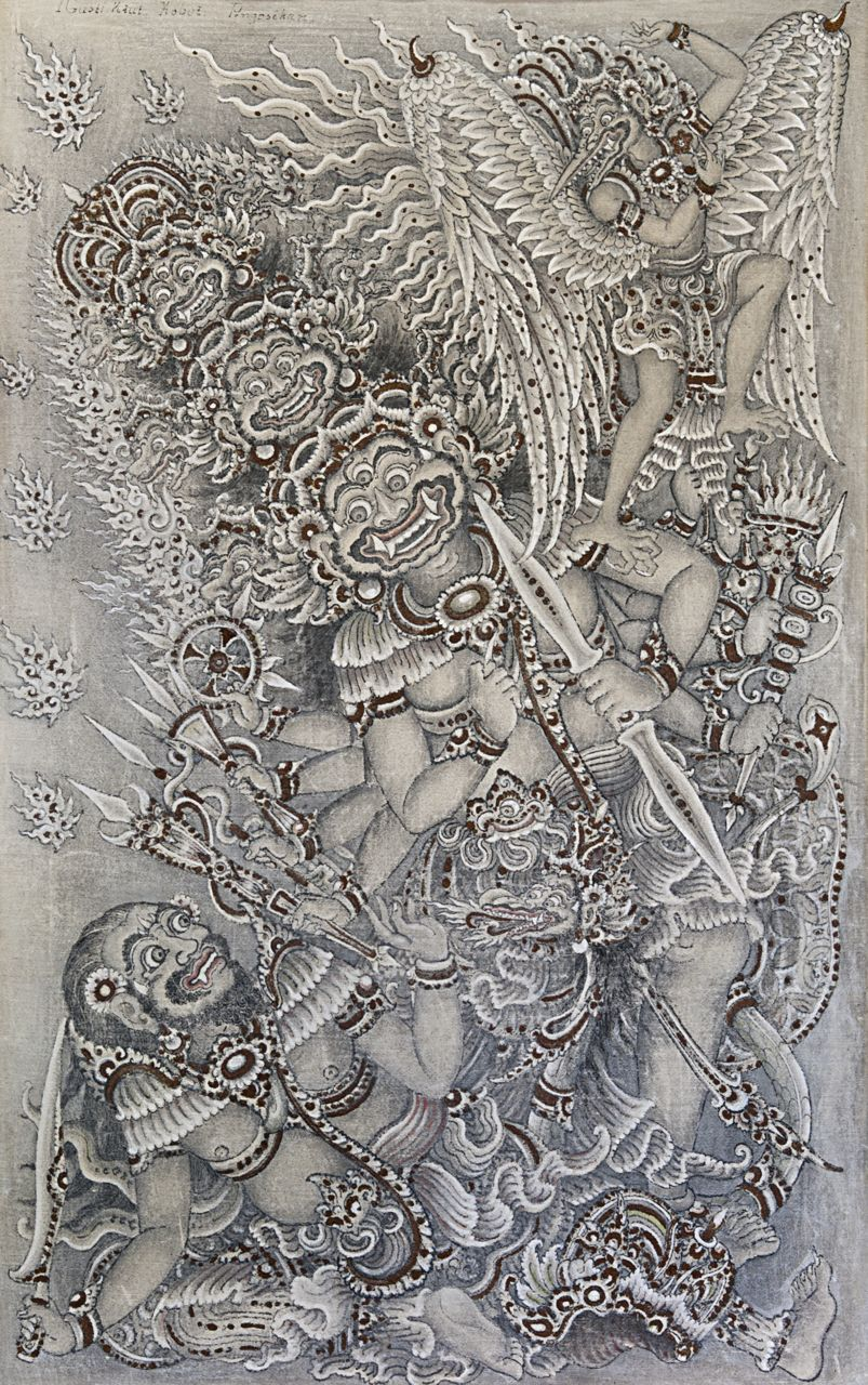 Image Gallery Ketut Madra Lukisan Boma And Kresna Bomantaka Gusti Kobot 1917 1999 Pengosekan Acrylic On Canvas 1953 414 X 653 Cm Collection Of Museum Puri
