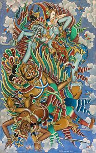 Jatayu Battles Rawana, Anak Agung Gde Meregeg (1902- 2000), Tempera on canvas, 1968, 50 x 80 cm, Ganesha Collection, USA (SW-01)